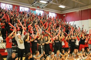The seniors are spirited at the pep rally!