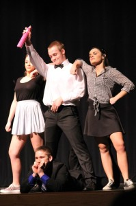 Mark Thompson performs a skit during the Mr. Lenape competition