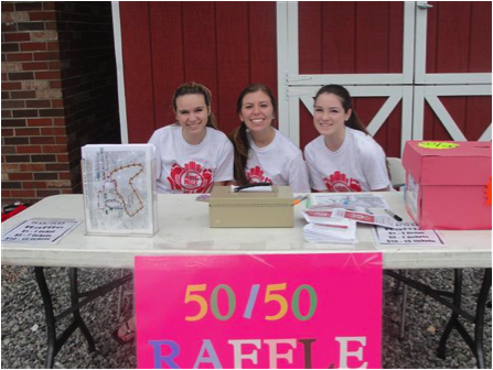 Raquel Brosh '16 (left), Julia Wietryzchowski (middle) '16, and Katie Fox (right) '16
