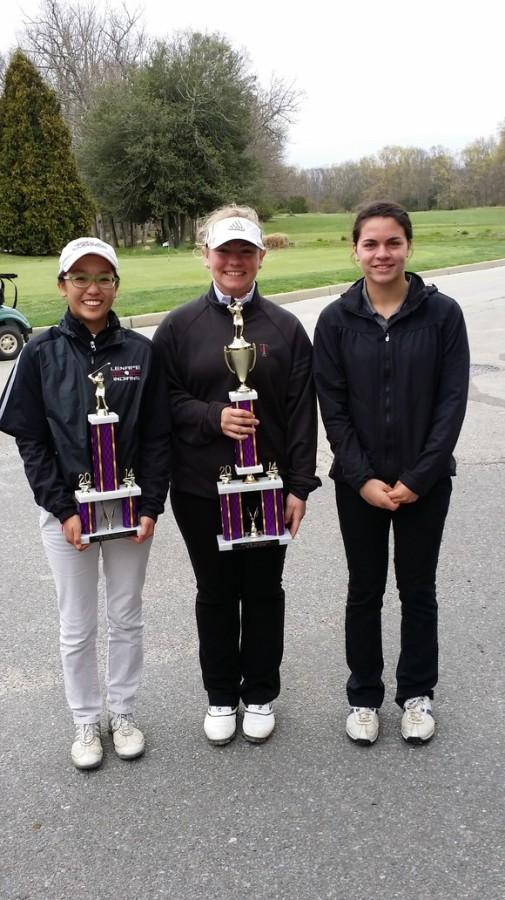 Erica Han (10th), Taylor Hughart (12th), Alyse Headley (10th)  Erica is holding her 1st place individual trophy and Taylor is holding the 1st place team trophy at the SJ Girls Invitational Golf TOurnament.