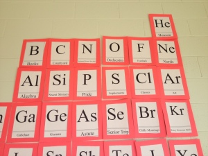 A section of the Lenape Periodic Table in F Hall