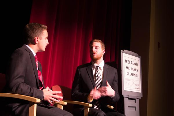 James Clementi (right), along with Jack Watson (left), speaking at the Lenape High School auditorium.