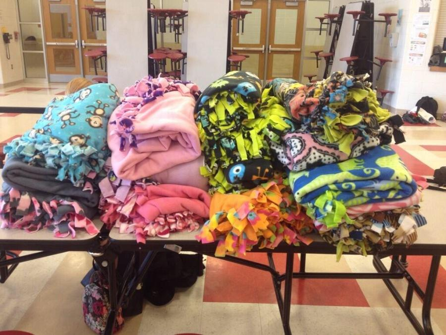 Some of the Cozies 4 Chemo made by our Community Service Club.