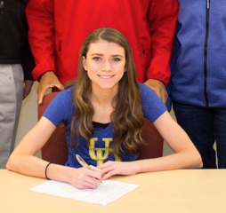 Carly Pettipaw (Senior '15) signing her letter of intent to University of Delaware