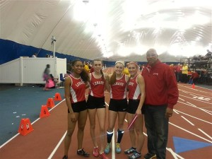 Lenape Girls 4x400 team. From left to right Jasmine Statin (Sophomore '17), Carly Pettipaw (Senior '15), Shannon Storms (Junior '16), Marissa Topolski (Senior '15)