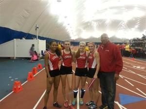 Lenape Girls 4x400 team. From left to right Jasmine Statin (Sophomore '17), Carly Pettipaw (Senior '15), Shannon Storms (Junior '16), Marissa Topolski (Senior '15)