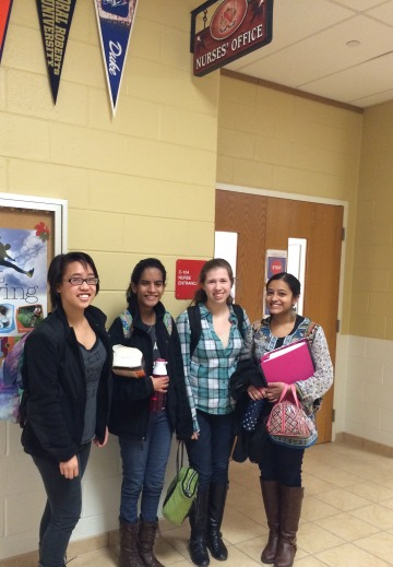 Pictured here in front of the nurse's office are sophomores (left to right) Lauren Palma, Isabel Chacko, Sarah Moynihan, and Megha Bharadwaj. All four girls are vaccinated and believe strongly in the need for vaccinations.