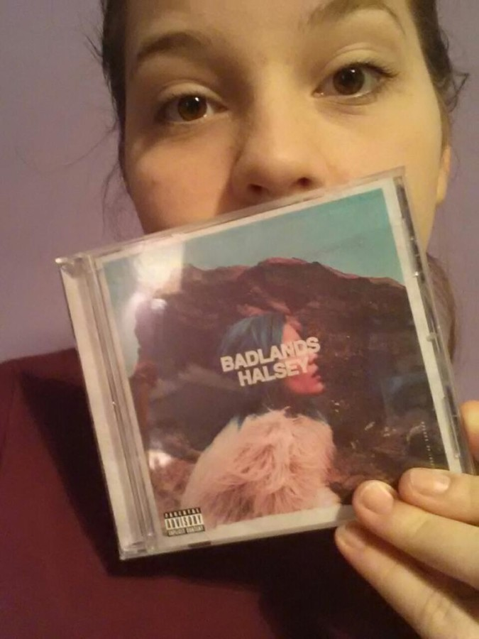 Miranda Marshall ('17) holds a copy of Halsey's new album Badlands