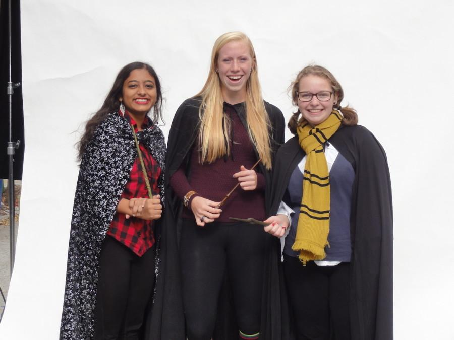 From left to right, Megha Bharadwaj ('17), Megan Quimby ('17), and Cecily Mohrfeld ('17) enjoy the slow motion video booth
