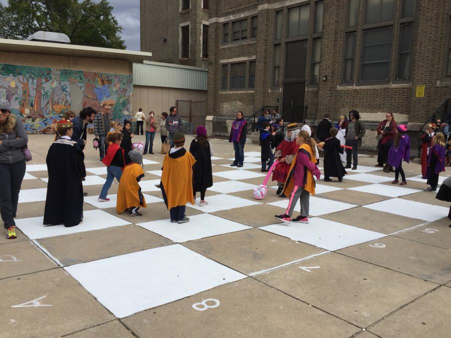 """Children play """"Wizard's Chess"""""""