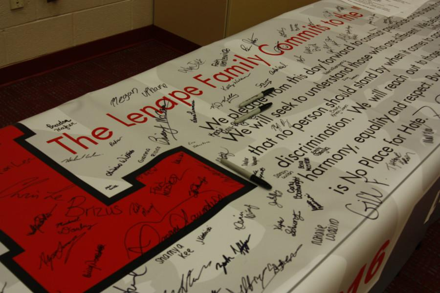 Lenape students and staff sign the banner as a pledge to be a No Place for Hate School.