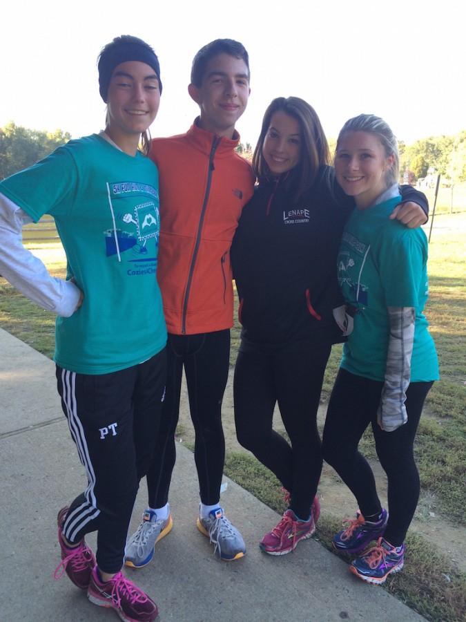 Lenape Cross Country runners Patricia Thomas ('17), Michael Rehman ('17), Gabby Sharp ('16), and Dana Duffield ('17).