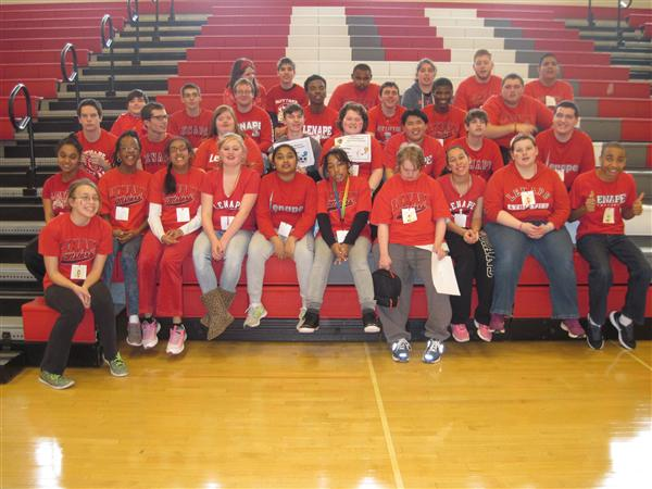 Lenape Special Education Students pose for a picture at the Wii Tournament