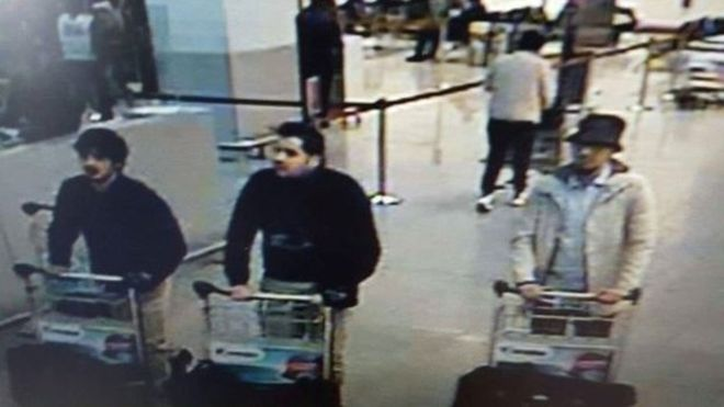 CCTV images of three men believed to be suspects in the Brussels attacks (www.bbc.com)