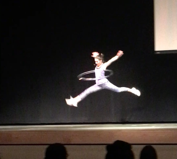 Amelia Toner ('18) performing with her hula-hoops